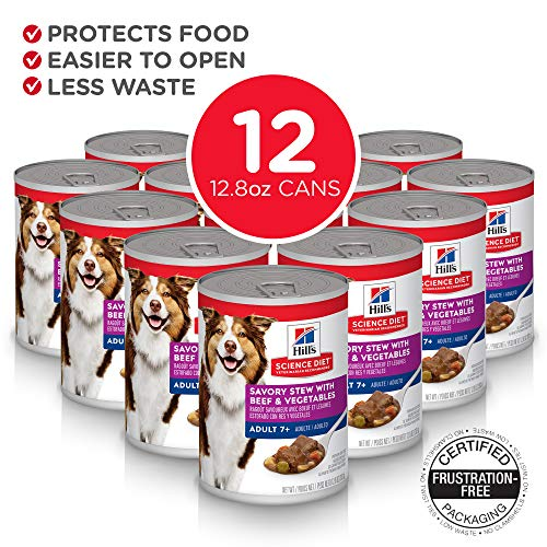 Hill's Science Diet Senior Wet Dog Food, Adult 7+ Savory Stew with Beef & Vegetables Canned Dog Food, 12.8 oz, 12 Pack, White
