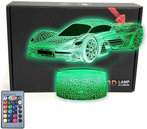Lámpara de ilusión LED 3D para coche de carreras deportivas, 16 colores cambiando con mando a distancia, regalo de cumpleaños para niños y niñas