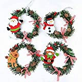 4 Piezas Corona de Navidad, Corona de Decorativa Colgante para Colgar de Navidad, Diseño de Muñeco de Nieve Ciervo Decoración Navideña, para la Puerta y Decoración de la Ventana, 15 cm