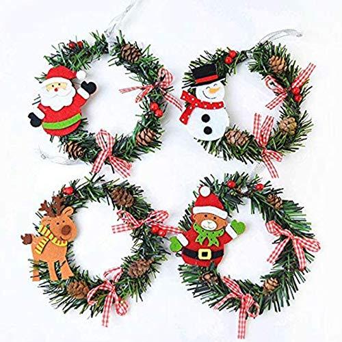 Dulau 4 Stück Weihnachtskranz, Tannenkranz Weihnachtskranz Dekoration Schneemann Weihnachtsmann Hirsch Kranz Ornamente, Wandkranz mit Dekoration, für Wand Tür Dekoration Home Decor,15cm