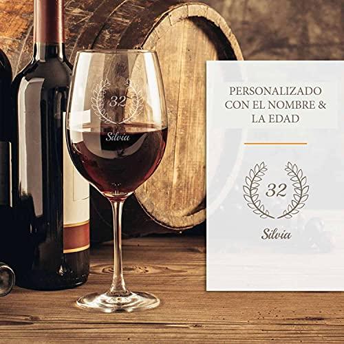 Cumpleaños personalizado de copa de vino tinto | Con grabado | Copa de vino tinto elegante con nombre | Idea de regalo grabado