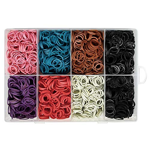 2400 Pcs Rubber Bands No Break Stretchy Elastic Braiding Pony Tail Holder Bracelet Making Craft Value Pack with Storage Box Organizer Container