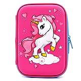Astuccio rigido con unicorno volante goffrato – grande scatola per la scuola con scomparti – borsa per cancelleria per bambini e bambine Hot Pink