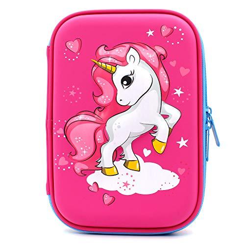 Estuche con diseño de unicornio volador en relieve, caja de suministros para la escuela grande con compartimentos, bolsa para lápices de papelería para niñas y niños, color hot pink