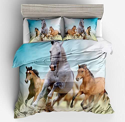 Weißes Pferd, Bettbezug, Doppelgröße, 3D, coole 3 Pferde, bedruckt, Tiermuster, 2-teiliges Set für Erwachsene & Jugendliche, weiches Bettwäsche-Set Kinder, Jungen, Bauernhof-Dekor, Tagesdecke
