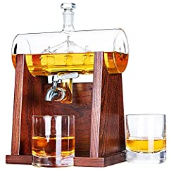 🥃Handmade Lead-Free Crystal Glass Decanter: Jillmo's whiskey decanter is made from 100% safe lead-free crystal glass, you can use it safely and longer. The top glass stopper protects your liquor from evaporating or changing the taste. The inside ship...