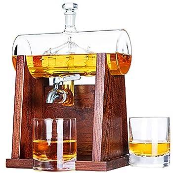 Jillmo Whiskey Decanter Set 1250ml Whiskey Decanter with 2 Whiskey Glasses