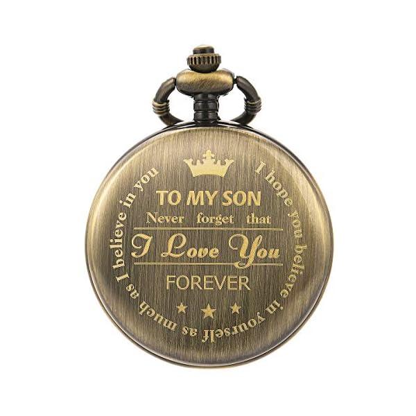 SIBOSUN Personalized Pocket Watch Engraved Back Case Birthday Graduation Men Women to My Son Daughter Eagle Scout Quartz
