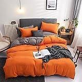 Damier Ropa de cama 220 x 240 naranja y gris, reversible, juego de ropa de cama de 3 piezas de microfibra suave, funda nórdica doble con cremallera y 2 fundas de almohada de 80 x 80 cm