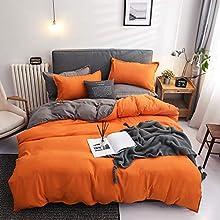 Damier - Juego de ropa de cama de 135 x 200 cm, color naranja y gris, reversible, 2 piezas, de microfibra suave, funda nórdica con cremallera para cama individual y 1 funda de almohada de 80 x 80 cm