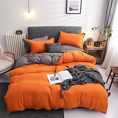 Damier - Juego de ropa de cama de 135 x 200 cm, color naranja y gris, reversible, 2 piezas, de...