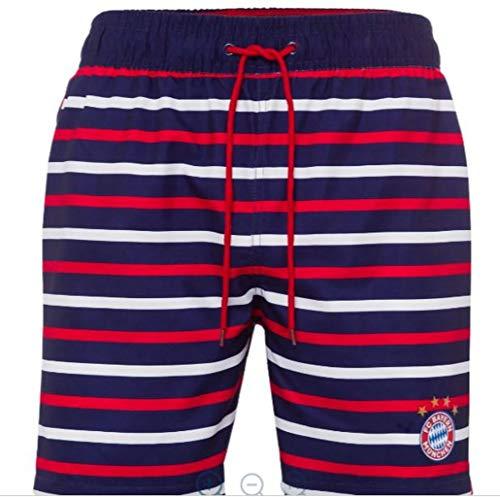 Bayern MÜNCHEN kompatibel Badeshorts gestreift + Sticker München Forever, Badehose/Bathing Shorts/Pantalones Cortos de baño/Shorts de bain, Munich, Badeshort (3XL)