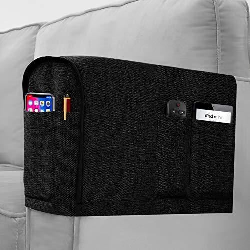 Joywell 2er Set Sofa Armlehnenbezug Abnehmbare Sofa Möbelschutz Leinen Optik Couch Aufbewahrungstaschen mit 4 Taschen Brille Magazinen