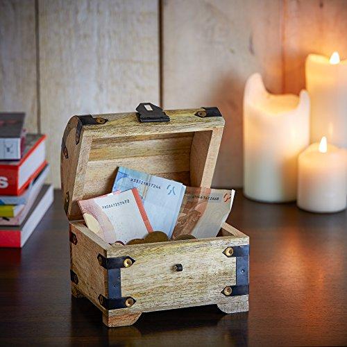Casa Vivente Schatztruhe aus hellem Holz mit Gravur zur Hochzeit, Motiv Ringe, Personalisiert mit Namen und Datum, Verpackung für Geldgeschenke - 5