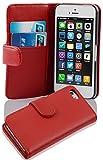 Cadorabo Funda Libro para Apple iPhone 5C en Rojo DE Chile - Cubierta Proteccíon de Cuero Sintético Liso con Tarjetero y Función de Suporte - Etui Case Cover Carcasa