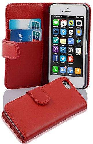 Cadorabo Apple iPhone 5C Funda de Cuero Sintético Liso en Rojo DE Chile Cubierta Protectora Estilo Libro con Cierre Magnético, Tarjetero y Función de Suporte Etui Case Cover Carcasa Protección Caja