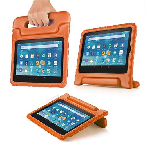 TNP Funda para Tableta Kindle Fire 7 (7a generación 2017), Funda Protectora Antideslizante, Anti-Impacto y caída para niños con Mango Convertible y Cubierta, Color Naranja