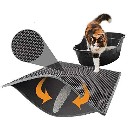 Tapis de litière pour chat, double couche nid d'abeille, tapis d'alimentation pour chat, tapis de litière résistant et imperméable pour protéger le sol et la moquette, facile à nettoyer
