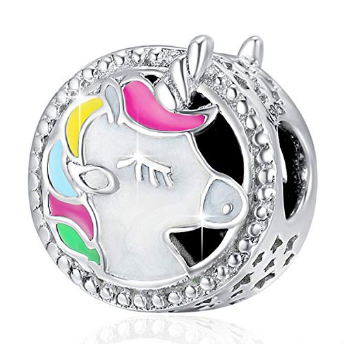 FOREVER QUEEN Unicorn Charm for Pandora Charm Bracelet, Round Shape Genuine 925 Sterling Silver Colorful Enamel Bead for European Bracelets Birthday Mother's Day Gift