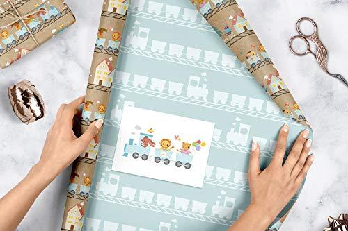 Geschenkpapier-Set für Kinder: Eisenbahn: 4x Einzelbögen + 1x Postkarte