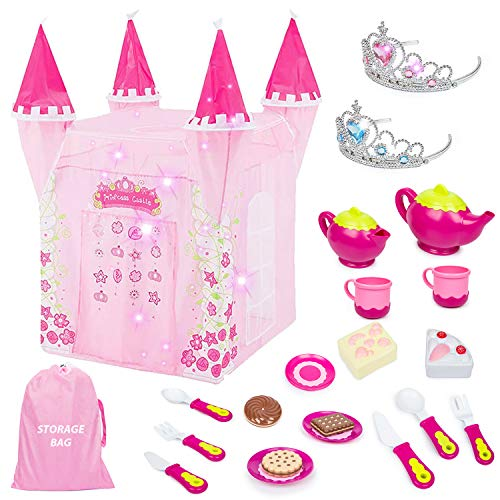 Mitcien Princess Castle Play Tent for Girls, Large Playhouse Play Tent with Royal Tea Party Toy for Little Girls, Indoor and Outdoor Pretend Role-Play Game