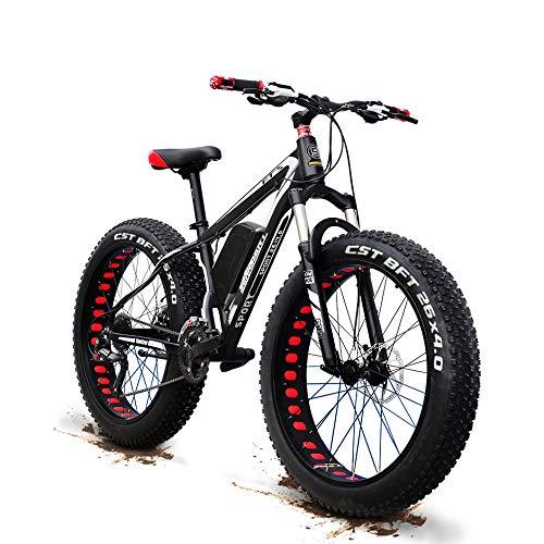 Aggiornamento 48V 1500w Elettrico Della Bicicletta Della Montagna 26 Pollici Fat Tire E-Bike (50-60 Km / H) Sospensione Cruiser Mens Sport Bike Completa Batteria Al Litio MTB Dirtbike, 27 Velocità A