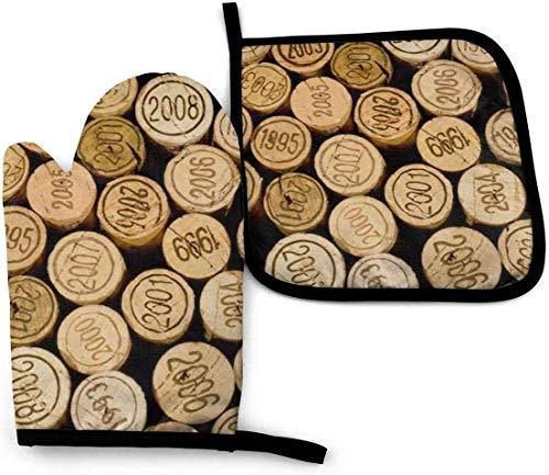 Juego de Manoplas para Horno y Porta ollas Resistente al Calor para Horno manopla tapón para Botella de Vino con Manoplas de Cocina Vintage para Barbacoa Parrilla