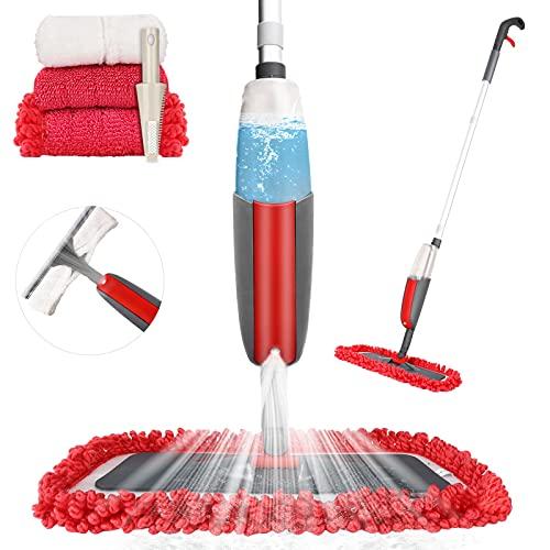 Aiglam Mop con Spruzzatore, Spray Mop in Microfibra Orientabile a 360 Gradi per Pavimento e Finestra con 4 Cuscinetti Riutilizzabili e Spazzolone per Legno Duro, Marmo, Laminato, Piastrelle