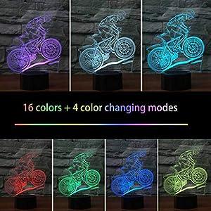 HeXie Christmas Gift Magic Flying Lámpara de bicicleta 3D Illusion 16 colores Touch Switch USB Insertar luz LED Presente de cumpleaños y decoración de fiesta [Clase de eficiencia energética A]