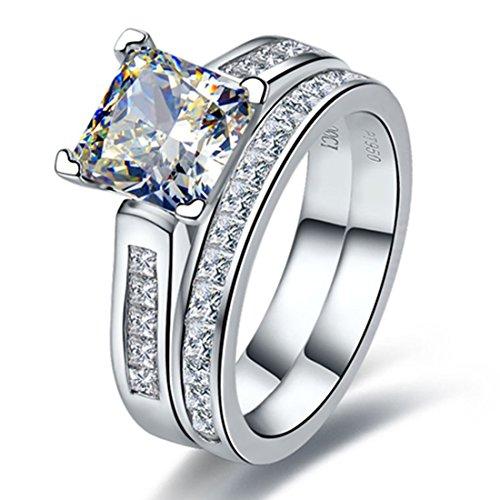 Solid Silver Jewelry 2CT Princess Cut NSCD Diamond Rings Set Bridal Women...