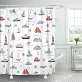 KUKUALE 1 Piece Nautical Water Boy Child Baby River Boat Bathroom Curtain Waterproof Polyester Fabric Set 180X180Cm(71X71In)