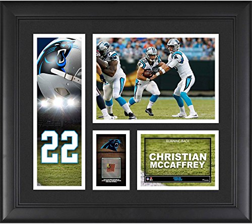 """Christian McCaffrey Carolina Panthers Framed 15"""" x 17"""" Player Collage with a Piece of Game-Used Football - NFL Player Plaques and Collages"""