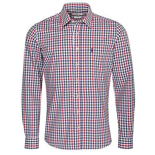 Almsach Herren Trachtenhemd Slim-Fit Slim-Line Trachten-Mode traditionell-kariert s-XXL viele Farben, Größe:S, Farbe-Zweifarbig:Rot/Tanne