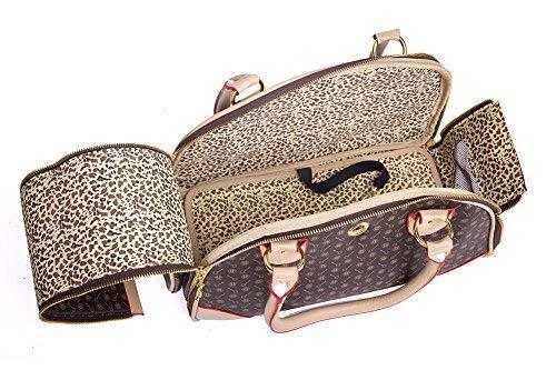BETOP HOUSE Fashion Dog Carrier PU Leather Dog Handbag Dog Purse Cat Tote Bag Pet Cat Dog Hiking Bag, Brown, Small 382317cm