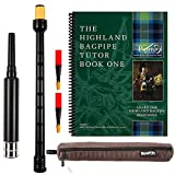 Barefoot Bagpiper Practice Bagpipe Chanter Standard Length, 18 inches. Includes Corduroy Carry Case. 2 Quality Reeds and Piping Institute of Scotland Highland Bagpipes Tutor Book 1