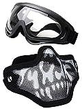 Coofit Masque Airsoft paintball 2 PCS Demi Masque Outdoor maille inox et lunettes de...