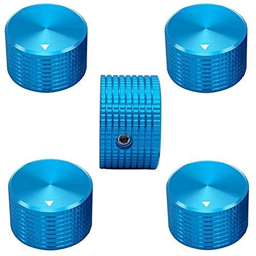 5pcs Color Azul Aluminio Rotary Control Electrónico Potenciómetro Perilla para 6 mm Diámetro Eje, Perillas de Control de Volumen..