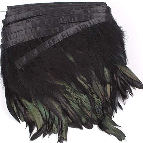 Healifty Frange de Plume de Coq Garniture Plume avec Ruban de Satin D/écoration pour DIY V/êtement Costume Mariage Couture 5 M Noir