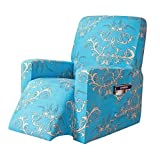 subrtex Printed Recliner Chair Slipcover Stretch Lazy Boy Leather Furniture Protector Rocker Sofa Cover with Side Pocket (Blue)