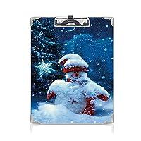 クリップボード クリスマス プレゼントA4 バインダー 魔法の杖とモミの枝で覆われた雪だるま雪で覆われた冬の夜装飾 用箋挟 クロス貼 A4 短辺とじネイビーブルーレッドホワイト