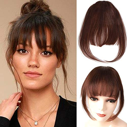 Clip on Bangs 100% Remy Human Hair Bangs Extensions for Women Clip on Fringe Bangs Natural Flat Neat...