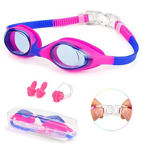 Kungber Gafas de Natación para Niños 2019 Nueva Sin Fugas, Anti Niebla, Protección UV, Silicona de Memoria 3D con Clip de Nariz, Tapones para los oídos, Caso para niños Youth Boys Girls