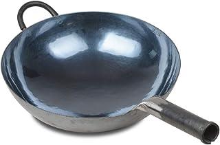 Wok chinois en fer martelé à la main, antiadhésif, sans revêtement, moins d'huile, moins d'huile, pas de revêtement, une m...