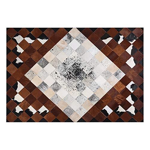 BAGEHUA Tapis Salon Lumineux De Luxe Style Américain Nordique Simple Postes Européens Moderne Style Salon Chambre Canapé Cheval Cheveux Tapis en Cuir, 120 cm × 180 cm