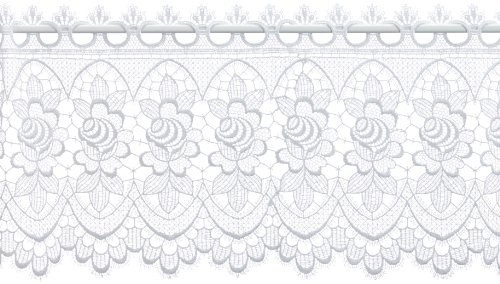 Plauener Spitze by Modespitze, Store Bistro Gardine Scheibengardine mit Stangendurchzug, hochwertige Stickerei, Höhe 32 cm, Breite 96 cm, Weiß