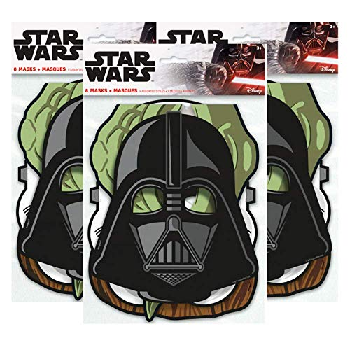 Star Wars Birthday Party Masks ft. Yoda, Chewbacca, Darth Vader and Storm Trooper, 8 ct (3 Pack) - http://coolthings.us