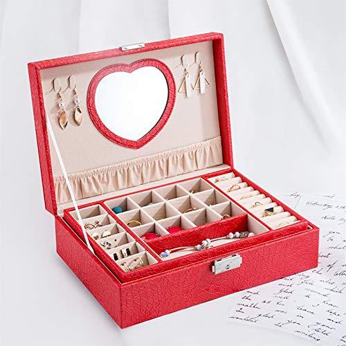 Cajas para Joyas Joyero 2 capas Premium Jewelry Box Organizer para las mujeres Caja de almacenamiento de joyas de viajes grande con bloqueo de espejo y llave para collar, pendiente, anillo Organizador