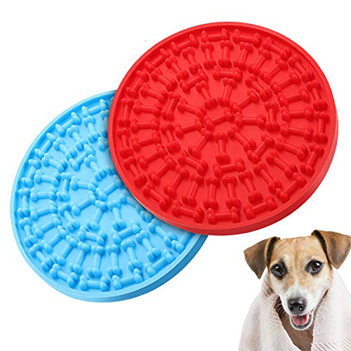 Chekue Dog Lick Pad and Slow Feeder Mat - Lick Mat for Pet Bathing, Dog Grooming Distraction and Dog Training (Round 2 Pcs)