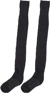 Chica calentador de la pierna rodilleras calcetines (negro)