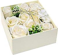 Capiner 大切な想いをのせて ソープフラワー ギフトボックス 薔薇 バラ プレゼント 誕生日 母の日 父の日 還暦 結婚 お見舞い 造花 女性 メッセージカード ショップバッグ付 (シャンパンホワイト)